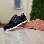 Женские замшевые кроссовки New Balance 574 (черные) Рефлективные 20093, фото 7