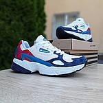 Женские кроссовки Adidas Falcon (бело-синие с красным) 20098, фото 8