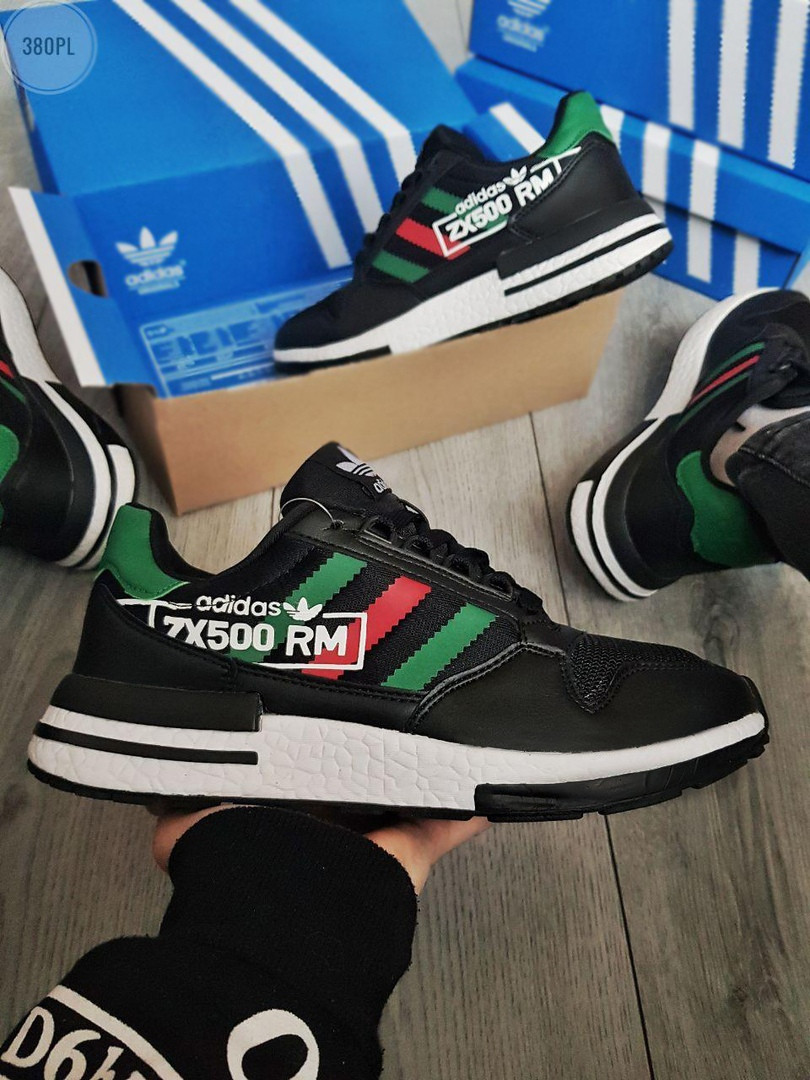 Мужские кроссовки Adidas ZX 500 RM (черно-зеленые) 380PL