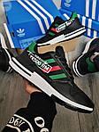 Чоловічі кросівки Adidas ZX 500 RM (чорно-зелені) 380PL, фото 2