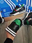 Чоловічі кросівки Adidas ZX 500 RM (чорно-зелені) 380PL, фото 3