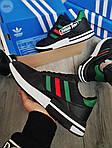 Мужские кроссовки Adidas ZX 500 RM (черно-зеленые) 380PL, фото 5
