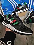 Чоловічі кросівки Adidas ZX 500 RM (чорно-зелені) 380PL, фото 6