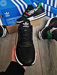 Мужские кроссовки Adidas ZX 500 RM (черно-зеленые) 380PL, фото 7