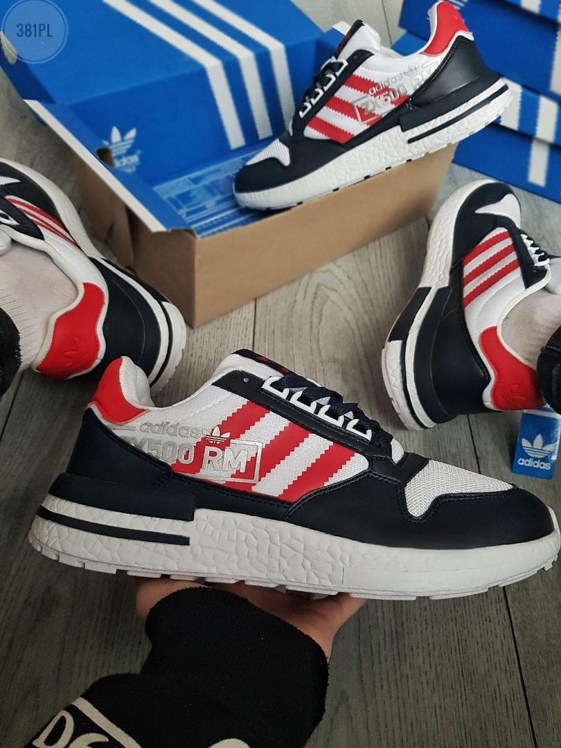 Мужские кроссовки Adidas ZX 500 RM (бело-черные с красным) 381PL