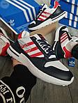 Чоловічі кросівки Adidas ZX 500 RM (біло-чорне з червоним) 381PL, фото 4