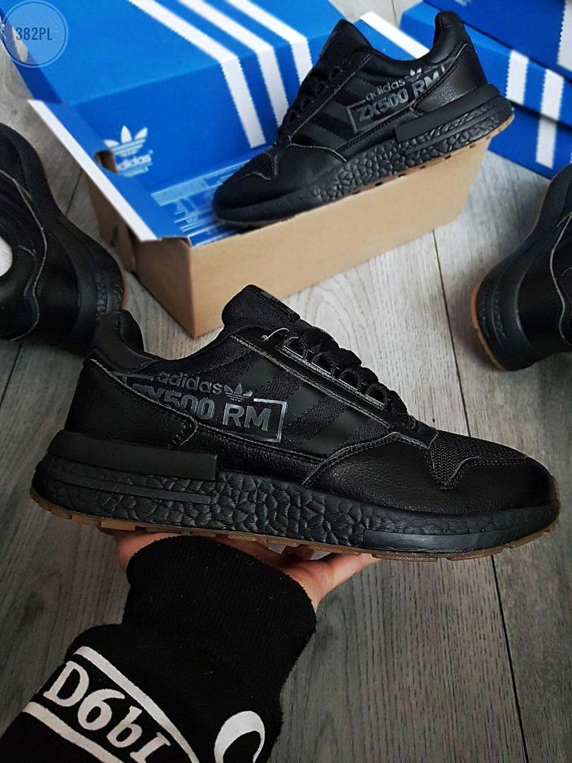 Мужские кроссовки Adidas ZX 500 RM (черные) 382PL