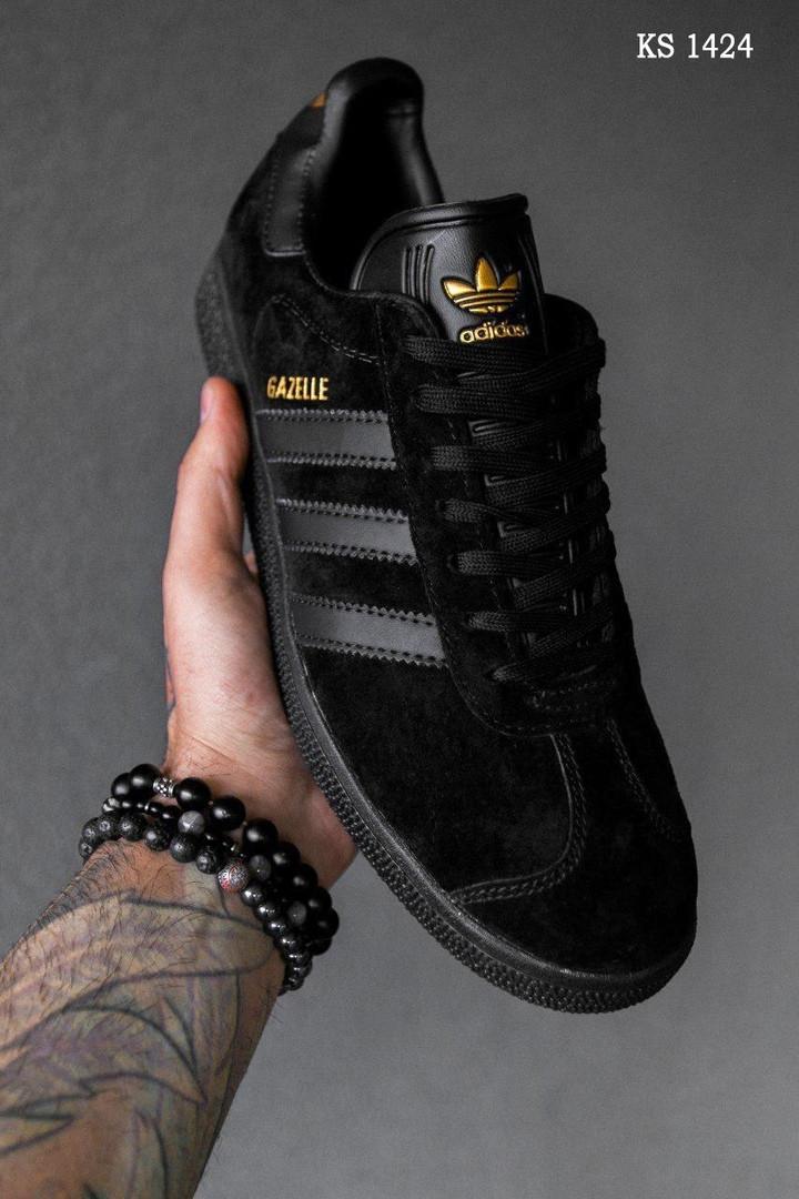 Мужские кроссовки Adidas Gazelle (Черные)