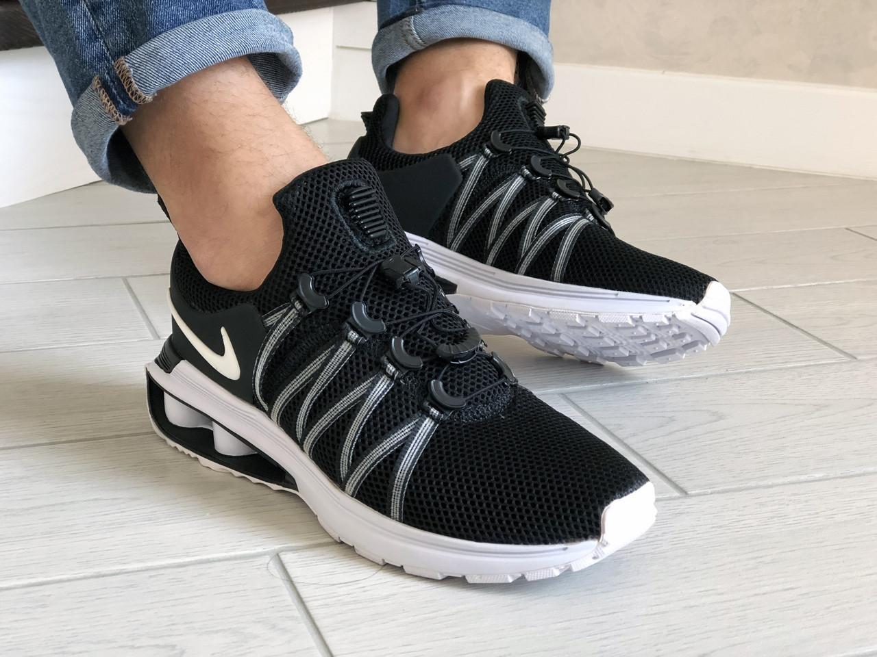 Мужские кроссовки Nike Shox Gravity (черно-белые) 9297
