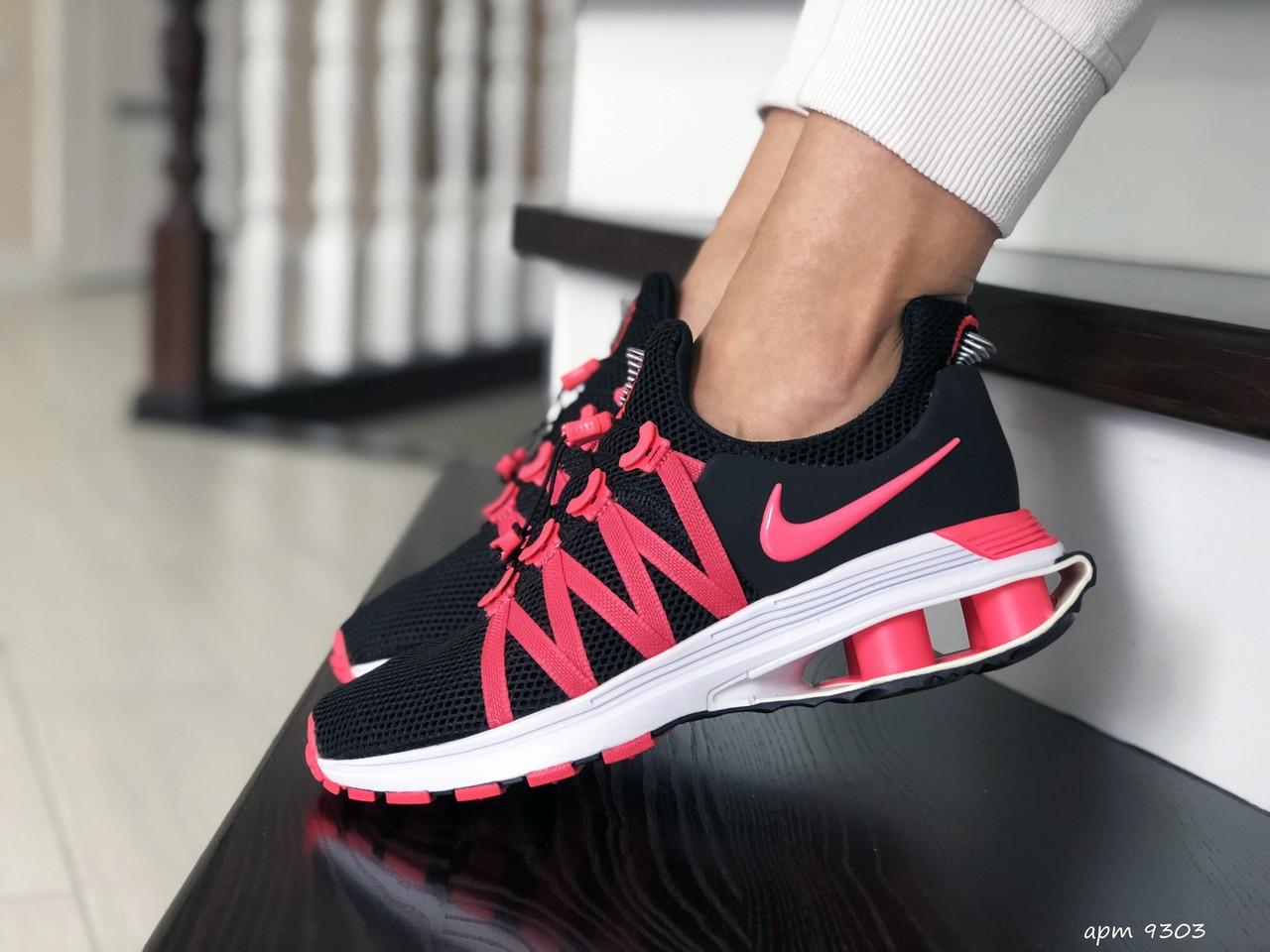 Женские кроссовки Nike Shox Gravity (черно-розовые) 9303