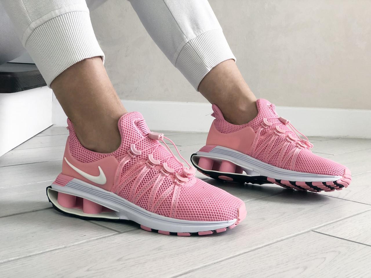 Жіночі кросівки Nike Shox Gravity (рожево-білі) 9304
