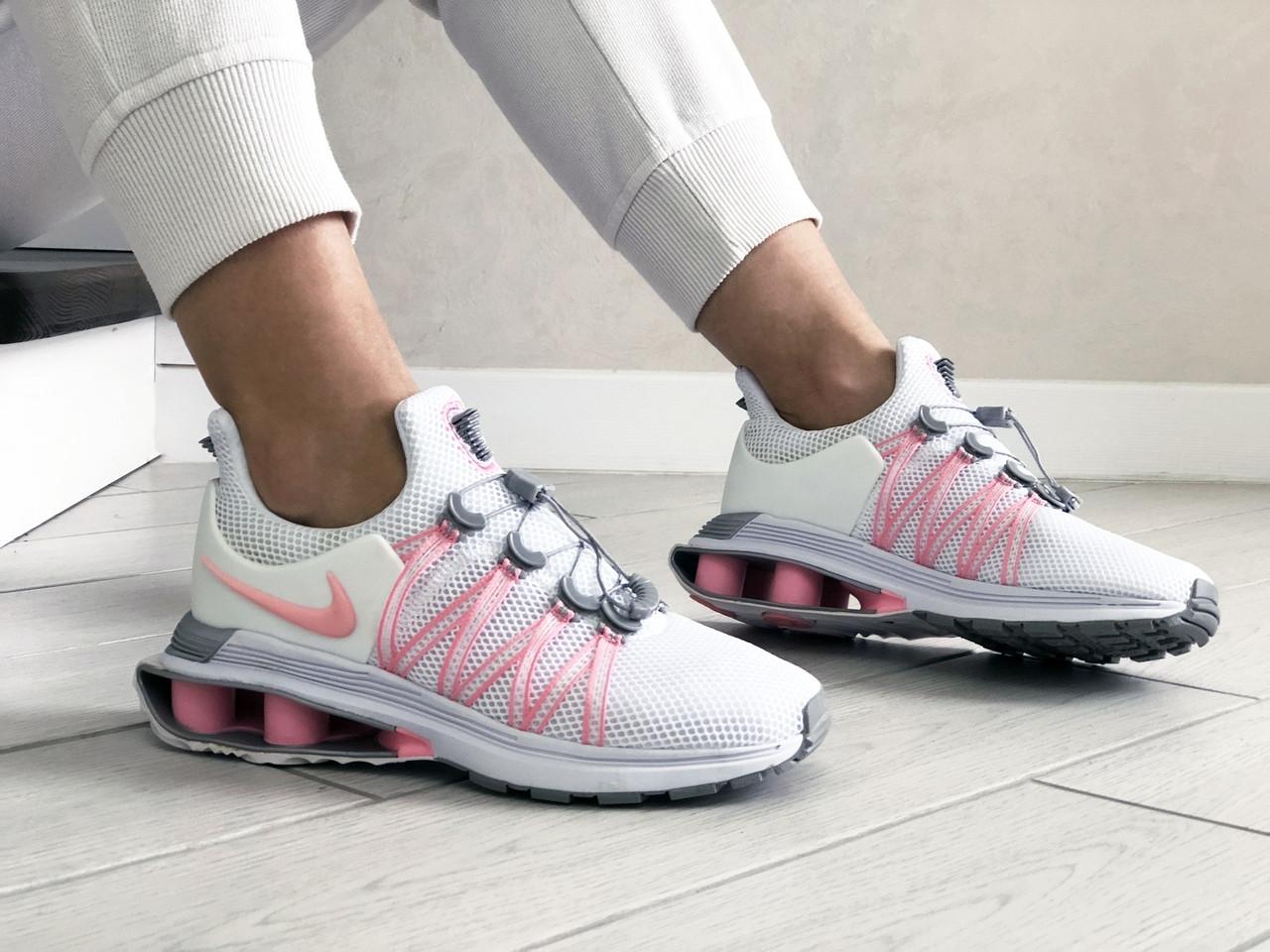 Женские кроссовки Nike Shox Gravity (бело-розовые) 9305