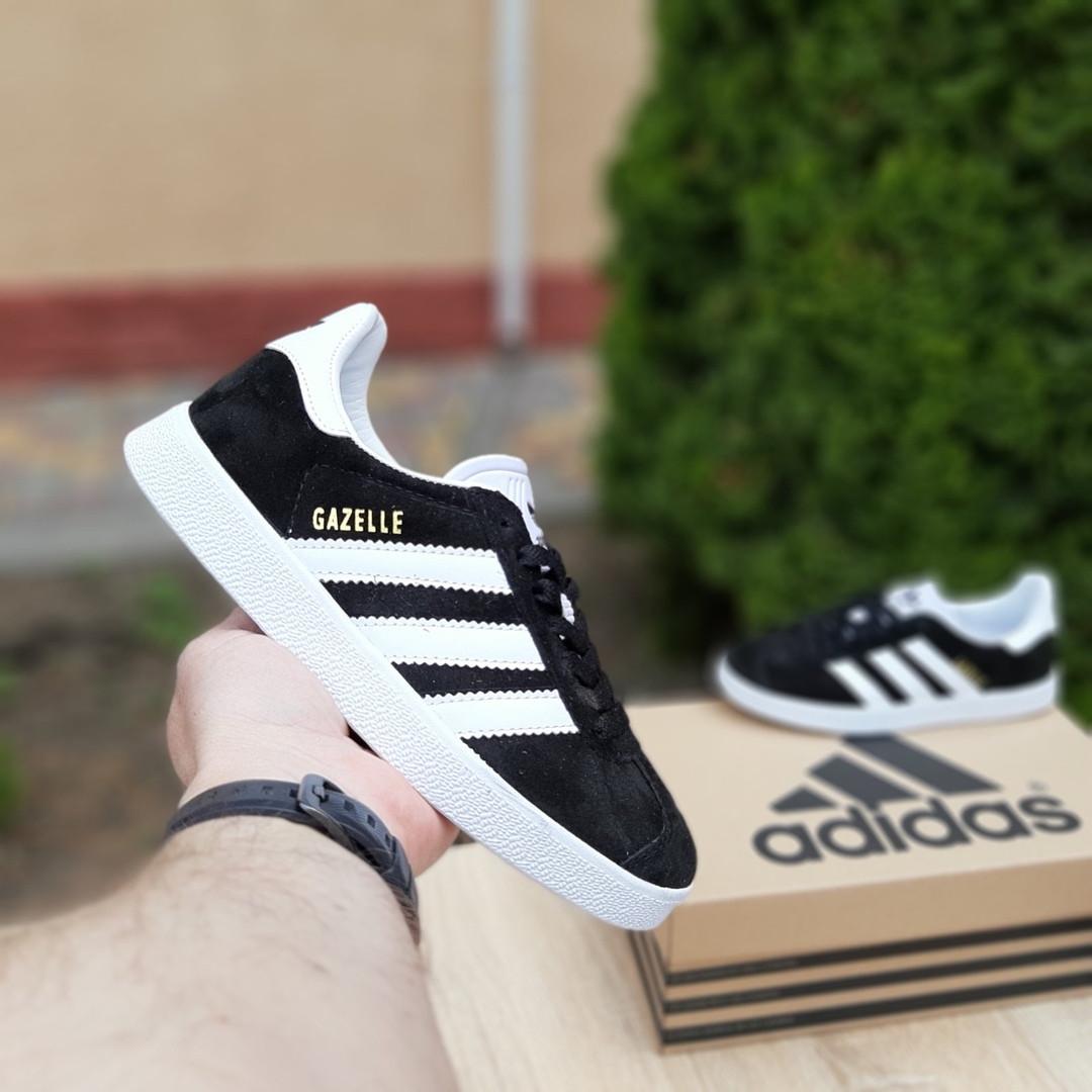 Женские кроссовки Adidas Gazelle (черно-белые) 20105