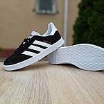 Женские кроссовки Adidas Gazelle (черно-белые) 20105, фото 4