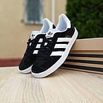Женские кроссовки Adidas Gazelle (черно-белые) 20105, фото 8
