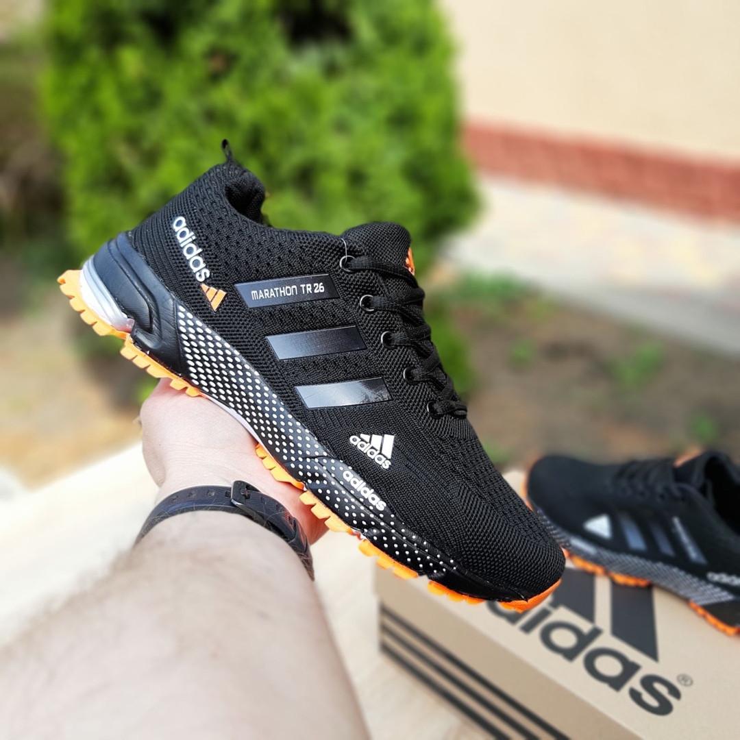 Мужские кроссовки Adidas Marathon (черно-оранжевые) 10124