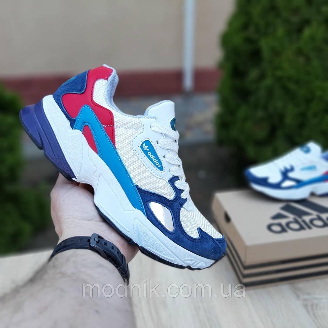 Женские кроссовки Adidas Falcon (бело-синие с красным) 20098