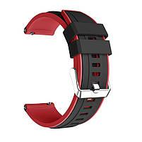 Amazfit Pace / Stratos / GTR 47 мм. Ремешок для смарт часов, Black with red, ширина - 22 мм., фото 2