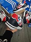 Мужские кроссовки Adidas ZX 500 RM (бело-черные с красным) 381PL, фото 2