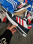Мужские кроссовки Adidas ZX 500 RM (бело-черные с красным) 381PL, фото 5