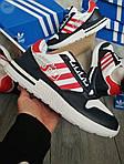 Мужские кроссовки Adidas ZX 500 RM (бело-черные с красным) 381PL, фото 7