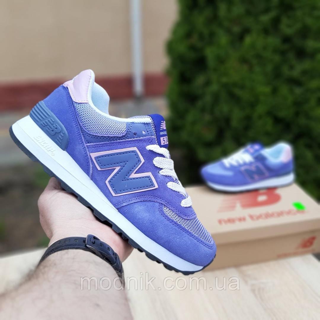 Жіночі замшеві кросівки New Balance 574 (фіолетові) 20106