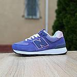 Жіночі замшеві кросівки New Balance 574 (фіолетові) 20106, фото 2