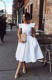 Женское платье миди с пышной юбкой, белое, ткань котон, фото 2