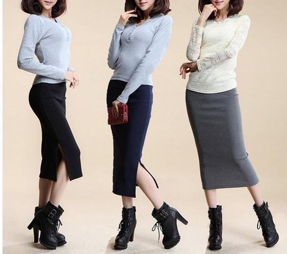 Стильная длинная юбка с разрезом макси