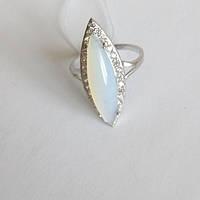 Срібне кільце Маркіз з цирконієм і Місячним каменем, фото 1
