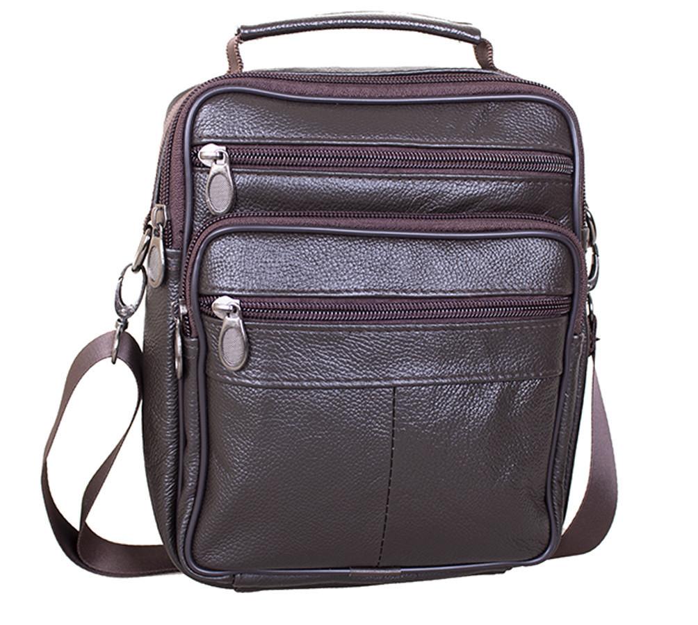 Мужская кожаная сумка Dovhani Brown402027  23 х 18 х 7см Коричневая