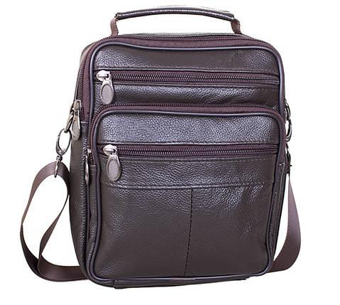 Мужская кожаная сумка Dovhani Brown402027  23 х 18 х 7см Коричневая, фото 2