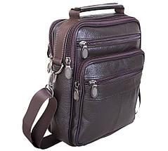 Мужская кожаная сумка Dovhani Brown402027  23 х 18 х 7см Коричневая, фото 3