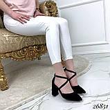 Женские туфли на широком каблуке с острым носом, голубые, серые, бежевые, пудра, черные, фото 2