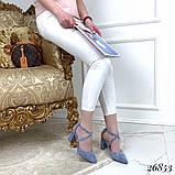 Женские туфли на широком каблуке с острым носом, голубые, серые, бежевые, пудра, черные, фото 3