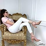 Женские туфли на широком каблуке с острым носом, голубые, серые, бежевые, пудра, черные, фото 4