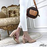 Женские туфли на широком каблуке с острым носом, голубые, серые, бежевые, пудра, черные, фото 6