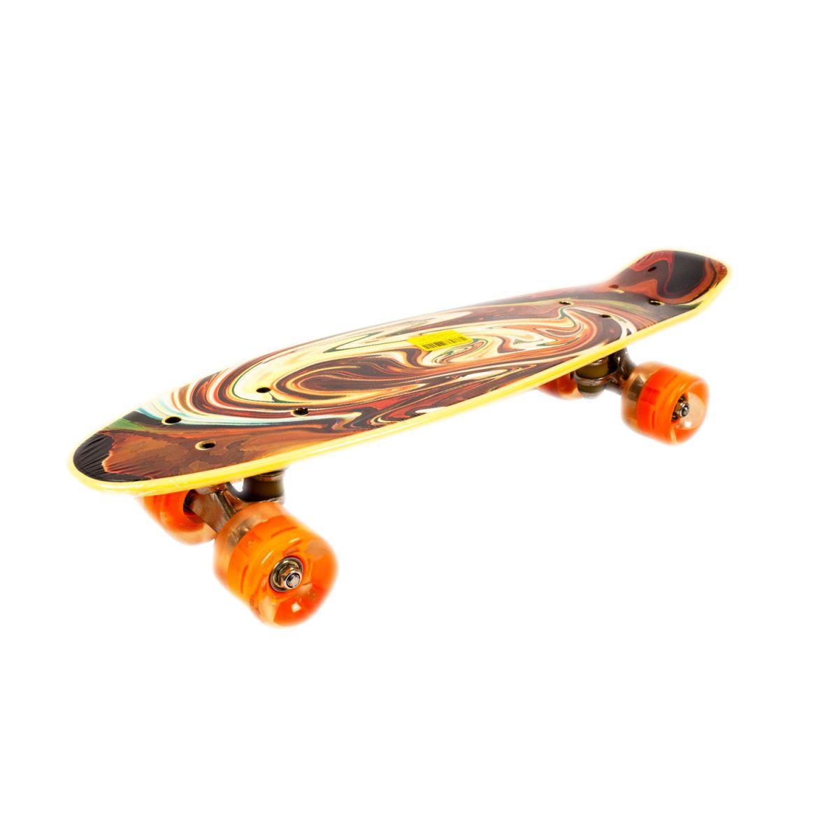 Скейт Пени Борд с принтом Penny Board колёса PU светятся коричневый