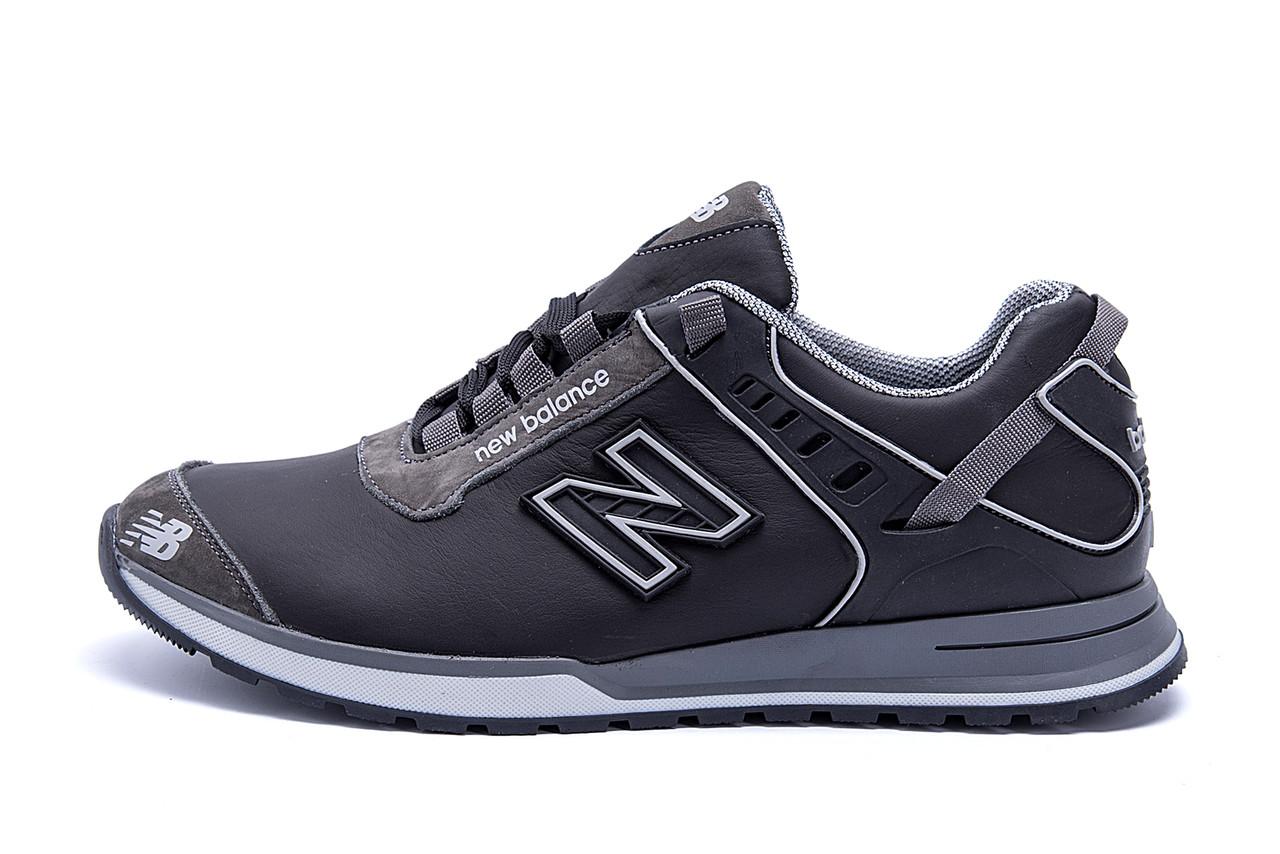 Мужские кожаные кроссовки NB Clasic Black (реплика)