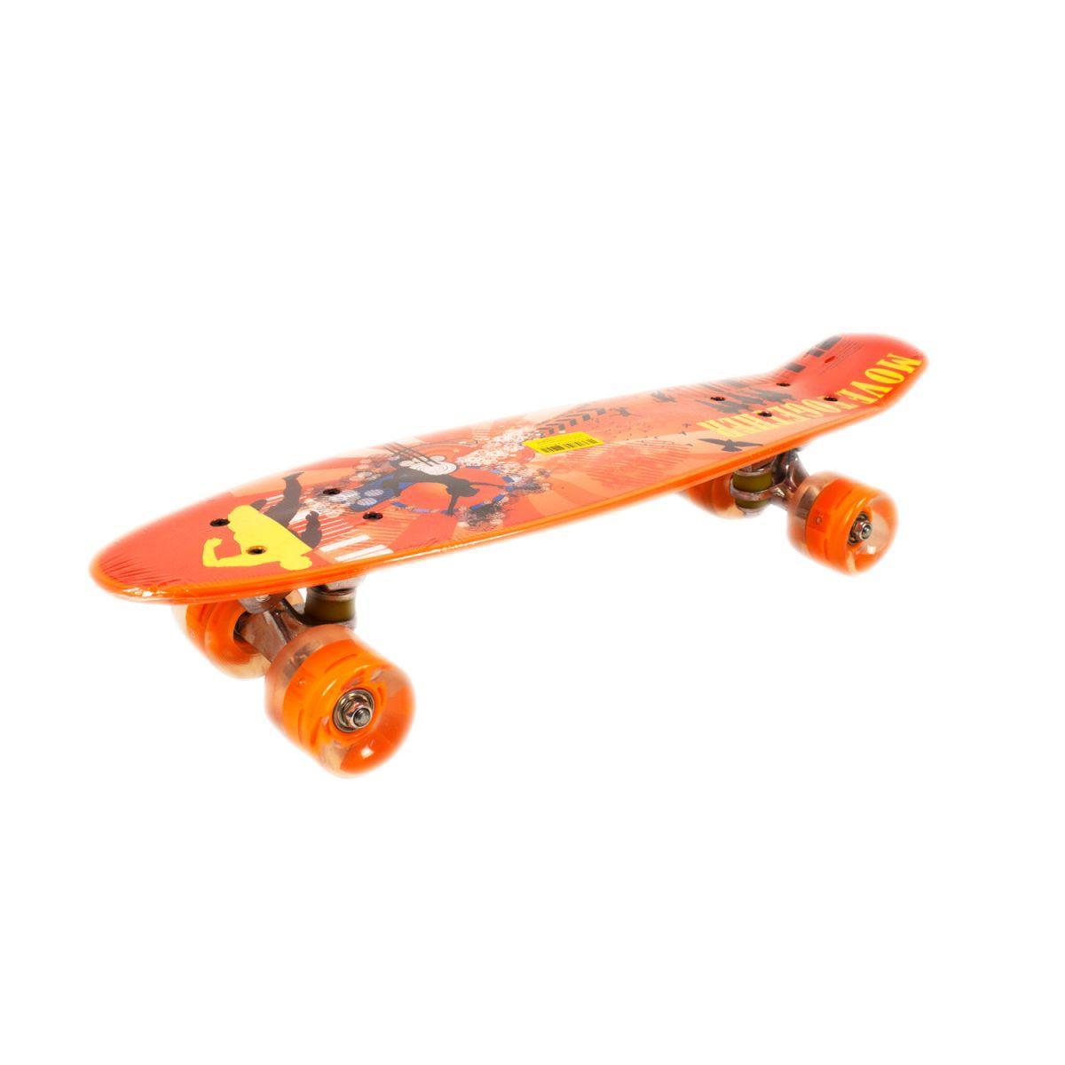 Скейт Пени Борд с принтом Penny Board колёса PU светятся оранжевый