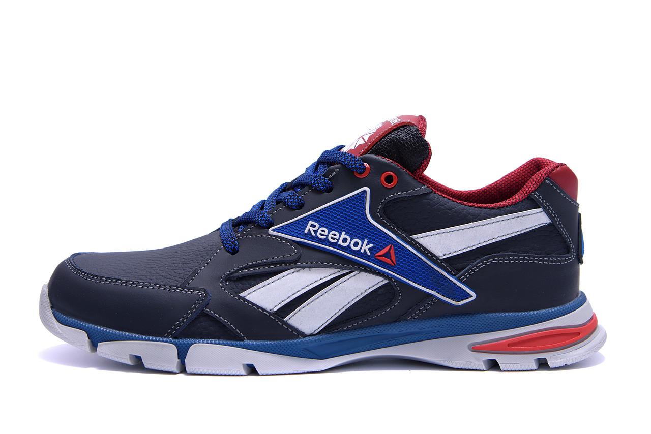 Мужские кожаные кроссовки Reebok Street Style Blue (реплика)