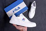 Мужские кожаные кеды  FILA White Leather (реплика), фото 8