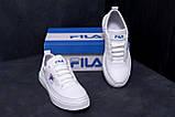 Мужские кожаные кеды  FILA White Leather (реплика), фото 9
