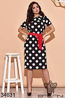 Стильное женственное платье в горошек с короткими рукавами на резинке и поясом на талии с 48 по 62 размер