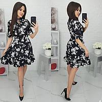 Женское платье в цветочек с коротким рукавом, фото 1