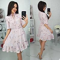 Красивое платье в цветочек с коротким рукавом