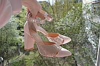 Женские кожаные туфли. Цвет пудра