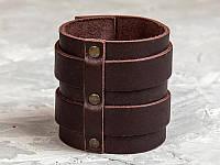 Коричневый широкий изящный кожаный браслет с двумя полосами и металлическими вставками 6740 (Ручная работа)