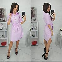 Женское платье-рубашка льняное