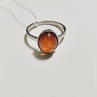 Кольцо из серебра родированное с янтарем натуральным Фаина, фото 1